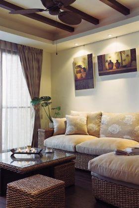 褐色东南亚风格客厅吊顶装潢设计