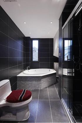 黑色时尚美式风格卫生间装潢设计