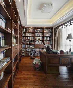 褐色中式风格书房书柜装修图片