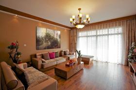 橙色时尚混搭客厅装修效果图