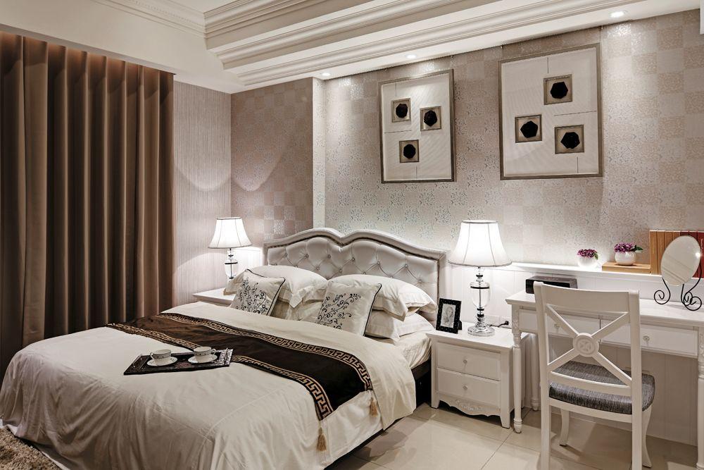 舒适雅致简欧风格白色卧室设计装潢
