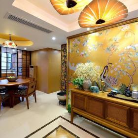 黄色典雅新中式浪漫孔雀图案背景墙装潢设计