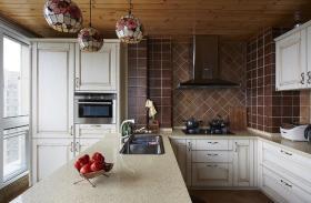 简欧风格褐色厨房背景墙装饰设计图