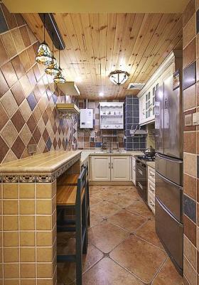 黄色复古创意时尚混搭风格厨房美图赏析