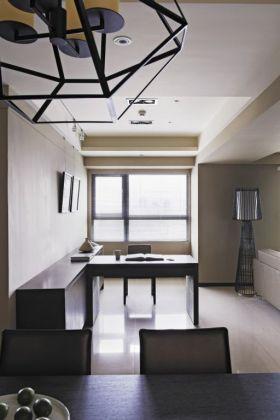 日式风格黑色简单书房书桌欣赏