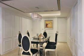 新古典白色餐厅吊顶装修效果图