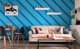 蓝色混搭风格照片墙装修图