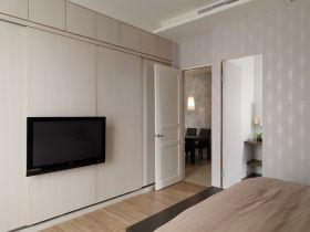 现代白色卧室衣柜背景墙装潢