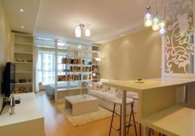 米色简约风格客厅隔断效果图设计