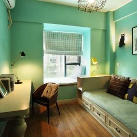 清爽蓝色混搭风格书房设计案例