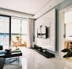白色靓丽现代风格客厅背景墙装修案例