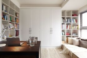 简约清爽白色书房装修效果图