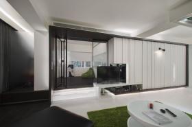 现代风格大空间黑色客厅设计装潢