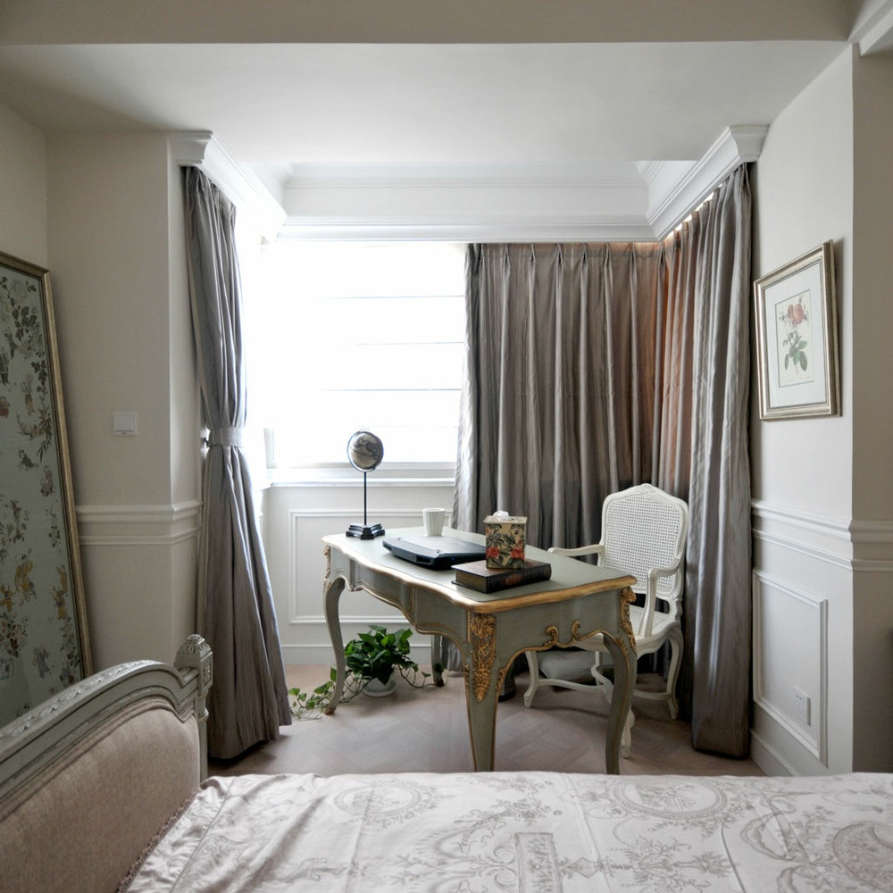 绿色欧式风格卧室书桌装饰设计图片