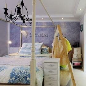 浪漫紫色淡雅简欧风格卧室装饰图