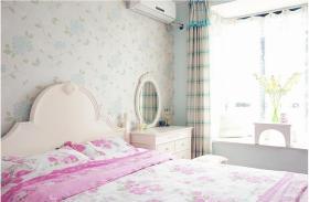 绿色田园风格卧室壁纸装修设计