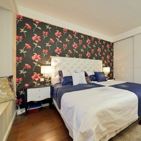 红色花纹东南亚卧室壁纸效果图