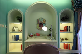 绿色创意地中海风格书房效果图设计
