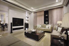米色现代客厅背景墙装饰案例