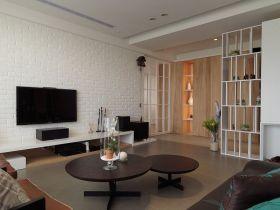 灰色简约风格客厅背景墙装饰设计图片