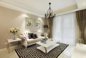 简欧风格白色雅致客厅装饰设计图片