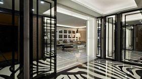 黑白经典雅致通透现代风格隔断装潢效果图
