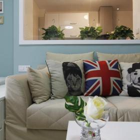 蓝色简约风格客厅沙发效果图