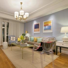 浪漫轻奢美式风格蓝色客厅装修效果图