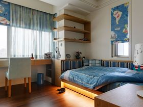 蓝色混搭风格卧室装修布置