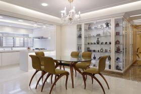 白色简欧风格餐厅装潢案例