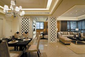 精致明亮米色新古典餐厅吊顶装饰图