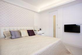 米色简约风格卧室床头背景墙装修设计