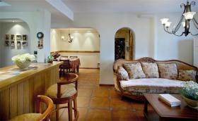 橙色田园风格客厅吧台隔断效果图设计