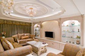 精致轻盈简欧米色客厅装潢效果图设计