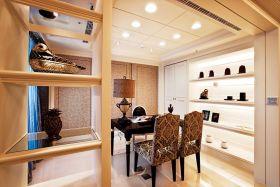 褐色东南亚风格书房隔断装饰柜设计