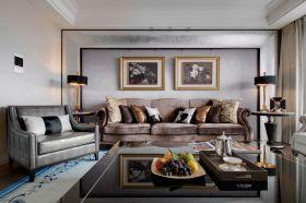 复古雅致美式风格米色客厅照片墙装饰案例