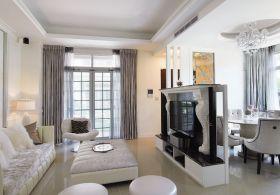 米色简欧客厅背景墙装饰设计图片