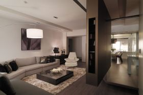 褐色简约风格客厅隔断装修