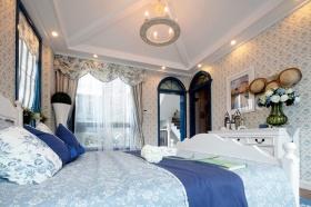 蓝色温馨浪漫田园卧室装饰设计图片