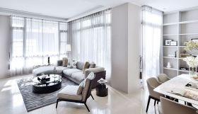 白色简约风格客厅飘逸窗帘设计欣赏
