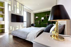 绿色现代卧室墙面装饰设计