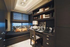 简欧风格时尚黑色书房设计图片