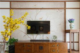 米色中式诗意背景墙效果图