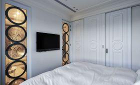舒适温馨简欧风格白色卧室背景墙图片