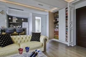 白色创意简欧风格客厅局部美图欣赏