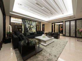 优雅文艺清爽现代风格客厅装潢吊顶设计图片