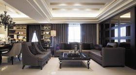 欧式轻奢黑色客厅吊顶设计图片