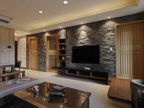 原木色混搭风格客厅背景墙图片
