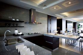 大气清爽现代风格灰色厨房效果图赏析