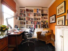 橙色美式个性混搭风格书房图片赏析